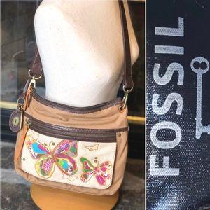 Fossil Canvas Crossbody Butterfly Purse
